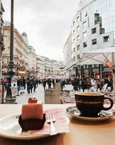 "802 Likes, 44 Comments - Oz | Vienna (@thissoz) on Instagram: ""coffee & Punschkrapferl with a view #aïda #Vienna"""