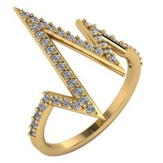 ½ Carat Heartbeat Shaped Diamond Ring 14kt Gold Sizes 4-9 from NYJewelz.com for $369.00
