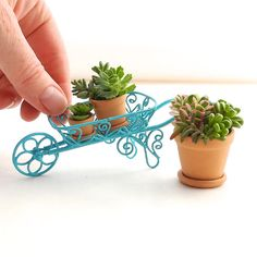 Miniature Garden Wheelbarrow with Pots and Plants, Country Garden Charm, Pretty Blue, Sweet Miniature Garden … Kids Outdoor Furniture, Fairy Furniture, Miniature Plants, Miniature Fairy Gardens, My Fairy Garden, Fairies Garden, Wheelbarrow Garden, Cactus, Garden Terrarium