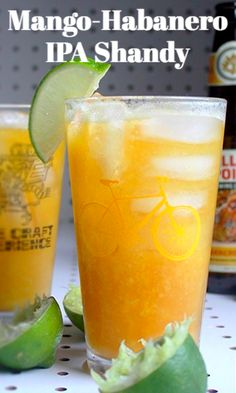 Habanero IPA is the spicy base for a shandy made with sweet and citrusy mango-lime puree. It's a beer cocktail perfect for summer. Spicy Drinks, Yummy Drinks, Mix Drinks, Drinks Alcohol Recipes, Beer Recipes, Alcoholic Drinks, Beverages, Sweet Cocktails, Cocktail Recipes