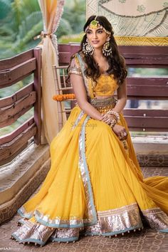 Check out more such Decor and wedding fashion inspiration, ideas and trends on the blog. Click on the link attached below.   #indianweddings #shaadisaga #intimateweddings #haldiceremony #mehendiceremony #mehendidecor #floraldecor #lockdownweddings #covid19 #indianweddingtrends #celebritywedding #southindianweddings  Indian Dresses, Indian Outfits, Indian Skirt, Indian Clothes, Gota Patti Lehenga, Best Bride, Haldi Ceremony, Indian Wedding Planning, Lehenga Designs