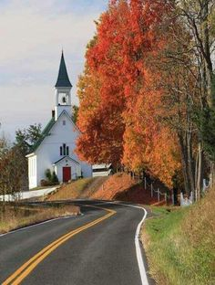 FALL IN VIRGINIA - There's a church in the valley by the wildwood. A beautiful little country church adorned by God's handiwork. Not far from Woodstock, Va. Old Country Churches, Old Churches, Country Roads, Country Fall, Take Me To Church, Cathedral Church, Church Building, Fall Pictures, Fall Pics
