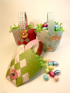 How-To: Weave a Paper Easter Basket by Diane Gilleland This design is based on the traditional Danish Woven Heart you see at Christmas and Valentine's Day. Here, it's updated for Easter, and a lovely way to present small gifts of candy.