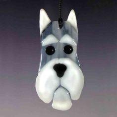 Schnauzer Fused Glass Ornament