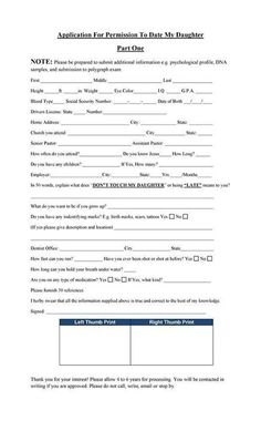 Dating Form Template