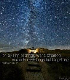 For by Him all things were created... and in Him all things hold together.  Colossians 1:16-17