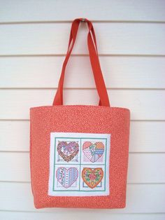 Tote Bag Orange Tote Bag Cross Stitched Tote by DonnaDesigned, $40.00
