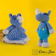 Combo Pack Max the Rhino Lovey and Amigurumi by oneandtwocompany