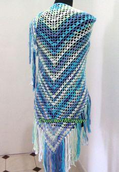Crochet cotton shawl Multicolored shawl Triangular shawl Summer Triangle, Lace Wrap, Crochet Shawl, Fringes, Shawls And Wraps, Wedding White, Boho, Purple, Trending Outfits