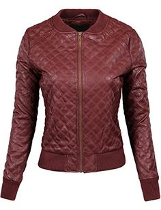 4ba0bc5b3bd5 BEKTOME Womens Quilted Faux Leather Moto Varsity Bomber Z... Fall Jackets,  Winter
