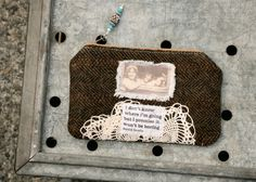 Wanderlust Keepsake Mini Clutch  quote saying tweed wool by ZiBagz