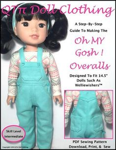 "Oh My Gosh! Overalls 14.5"" Doll Clothes Pattern"