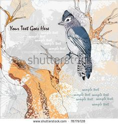 Grunge background with blue day by nadja_tj on shutterstock  Interesting graphic blue jay and tree branch
