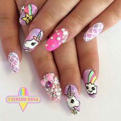 Uñas de Unicornio Cute Nail Art, Gel Nail Art, Cute Nails, Acrylic Nails, Diy Unicorn, Unicorn Nail Art, Nails Ideias, Unicorn Nails Designs, Kawaii Nails