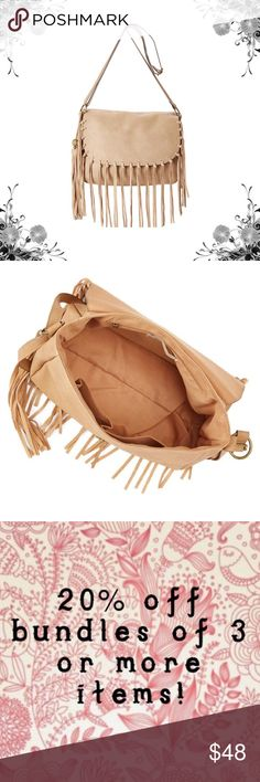 "🛍Coming Soon🛍 Boho-Chic Tan Fringe Crossbody Bag Bring a Boho-Chic vibe to your ensemble when you carry this earth-toned piece featuring artistic detailing. 11.5"" W x 8.5"" H x 5.5"" D. 26"" shoulder drop. 53"" max strap length. Man-made. Lined. Magnetic Snap Closure. Interior: one zip and two slip pockets. Strap is adjustable. Bundle for discounts! Thank you for shopping my closet! Bags Crossbody Bags"
