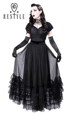 Click to zoom More Coveting Dresses, Black Mesh, Dresses Retro, Plays Dresses, Goth Fashion, Victoria Dresses, Products, Fashion Ista R-17 VICTORIA DRESS retro, long, black mesh, flounces, elegant