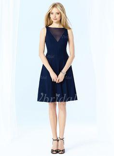 Abendkleider - $101.20 - A-Linie/Princess-Linie U-Ausschnitt Knielang Chiffon Abendkleid (0175060213)