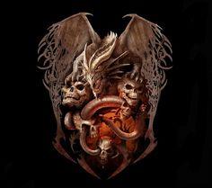 Dragon et tete de mort