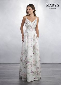 d6517d547715 Marys Bridal Amalia Bridesmaid Dresses dress with Style - Fabric - Satin  and Color - Shown in Floral Print and Dark Powder Blue.