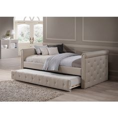 Featuring Baxton Studio Aisopos modern and contemporary beige fabric tufted twin size daybed with roll-out trundle guest bed sets be an elegant and yet classic piece in your living room or bedroom