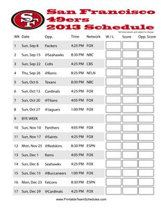 San Francisco 49ers 2013 Football Printable Schedule