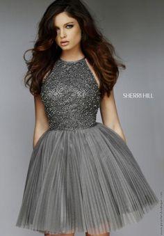 d741dc6b030c Sherri Hill Short Halter Top Tulle Dress 32335 Sherri Hill Prom Dresses
