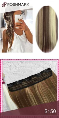 """Brown w/ Highlights Clip in Hair Extension The weight is 140g or 5oz and is heat resistant fiber so curl all you want! This is a set of 6 pieces and the hair looks so real! 23"""" Accessories Hair Accessories"""