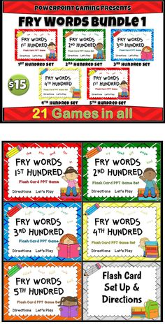 first 500 Fry Words with this flash card powerpoint game Bundle. Very ...