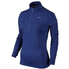 Nike Womens Dri-FIT Element Stripe 1/2 Zip Running Pullover Blue Black -- Check out the image by visiting the link. (This is an affiliate link) #JacketsCoats