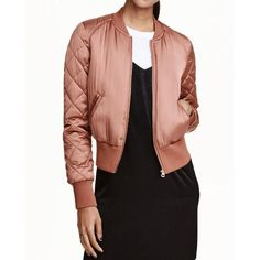 #TomTop - #TomTop Fashion Women Satin Bomber Jacket Quilted Long Sleeve Cotton Short Jacket - AdoreWe.com