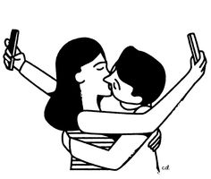 Illustration by C. Delorenzo, Selfie Kiss. #Selfie #Kiss