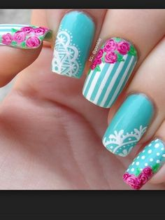Flowers do not always open, but the beautiful Floral nail art is available all year round. Choose your favorite Best Floral Nail art Designs 2018 here! We offer Best Floral Nail art Designs 2018 .If you're a Floral Nail art Design lover , join us now ! Lace Nail Design, Lace Nail Art, Flower Nail Designs, Lace Nails, Floral Nail Art, Simple Nail Designs, Flower Nails, Pink Nails, Nail Art Designs