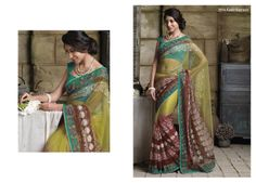 Fantastic work on net saree with green color border  & bhagalpuri blouse piece