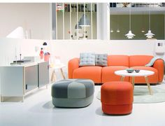 Orange and grey. And that sideboard!