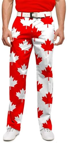 Mens Canada Maple Leaf Made To Order Pants by Loudmouth Golf.  Buy it @ ReadyGolf.com