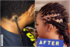 ATTACHING HANDMADE PERMANENT LOCS EXTENSIONS to natural, un-locked hair. tiny crochet hook back and forth over seam. looks like it may pull on the scalp a lot
