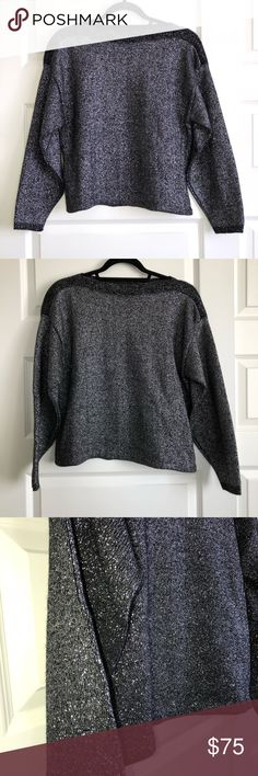 """Vintage 80s Black Silver Holiday Sparkle Sweater S This gorgeous vintage 80's piece is perfect for literally any occasion this holiday season. Pair with some skinny jeans for the grocery store or black leggings for a holiday party- you can't go wrong! Boxy shape with boatneck. Woven w black & silver thread, hard to capture the shimmer in photos! Brand is Bedford Fair Lifestyles, size small. Measures 20.5"""" pit to pit, 22"""" shoulder to hem, 18"""" sleeve armpit to wrist. Check out my closet for…"""