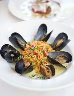 Red Chile Linguini w/ Fresh Mussels and Saffron Creme @ #ilpiattosantafe
