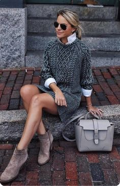 Fall Outfits To Copy This Season: grey cable knit sweater dress, grey booti. - - Fall Outfits To Copy This Season: grey cable knit sweater dress, grey booties, white high neck shirt, grey bag. The best fall fashion to get you i. Trendy Fall Outfits, Fall Outfits For Work, Winter Fashion Outfits, Fall Winter Outfits, Sweater Fashion, Autumn Winter Fashion, Casual Outfits, Dress Casual, Fashion Clothes