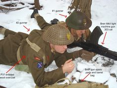 This picture shows a two man Dragoon Bren team. The #2 gunner is wearing the standard issue enlisted P37 overcoat. This coat was double breasted and carried the same regimental markings as the battle dress tunic with the exception of the black shoulder knot. The rear of the coat was sewn with an expandable vent in the back to allow for more movement. (see remark for more information)