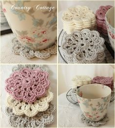 Drink Coasters- when I eventually work out how to crochet properly for my cups of tea- from 'My Country Cottage Garden' blog