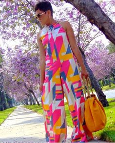My Daily Threadz: Spring is a Bloom with Halter Jumpsuit! Latest African Fashion Dresses, African Print Fashion, Fashion Prints, African Attire, African Wear, African Dress, Look Fashion, Girl Fashion, Moda Afro