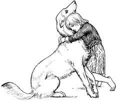 """A dog is happy to see you when you get home, no matter HOW long he/she had to be alone...It doesn't care if the bed isn't made, or the dishes washed.  A dog likes you for YOU. {illustration in """"More Celtic Fairy Tales"""" by :Morraha}"""