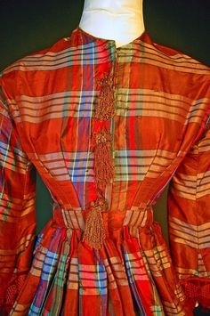 """Front detail - Civil War Pagoda Sleeve Ribbon Brown Gown NR 