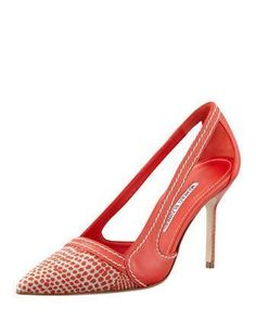 Tifo Spotted Fabric-Toe Pump, Red by Manolo #blahnik at Bergdorf Goodman. #manoloblahnikheelsbergdorfgoodman