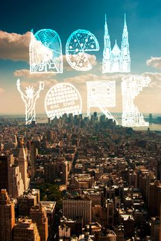 NYC. Graphic icons in the sky