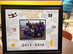 A autograph frame I made for the cheerleading coach! Made with stickers, makers and just love! Homemade Picture Frames, Homemade Pictures, Just Love, Cheerleading, Stickers, Crafts, Decor, Manualidades, Decoration