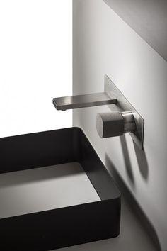 Mezclador empotrado lavabo con mando en cemento HAPTIC Mezclador monomando lavabo by RUBINETTERIE RITMONIO diseño Ritmonio DesignLAB