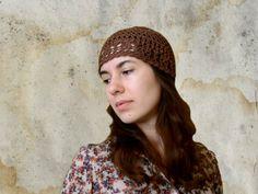 Brown Crochet Beanie Skull Hat - Women's Retro Beanie Hat - Chocolate Summer Crochet Lace - Pure Cotton Lace Hat - Yarn Cap For Women