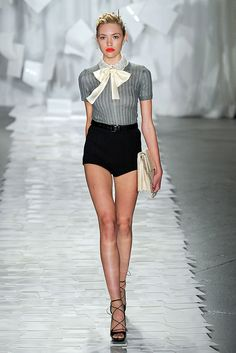 Jason Wu Spring 2012 RTW. Love the short shorts mixed with the prim & proper, button-up bowtie top